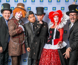 4 Matt Burrus-Pearce, from left, The Mad Hatter, Sergio Morales, Vivian Wise, The Queen of Hearts and Michael Burrus-Pearce at Human Rights Campaign Alice's Adventures in Equality event February 2015