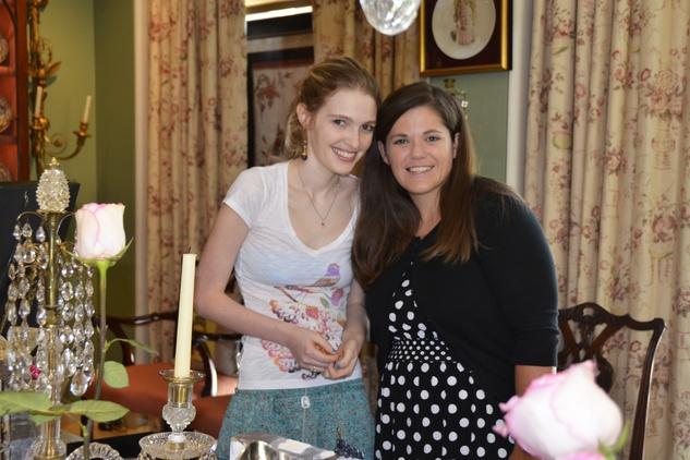 Sarah Hughes, left, and Linsey Hyatt at the Carolyn Farb party July 2014