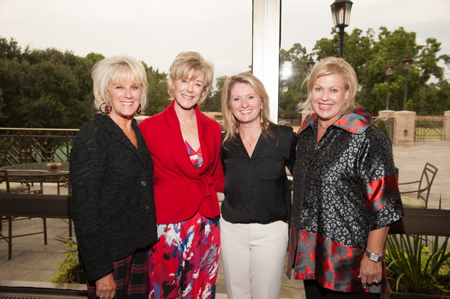 8 Liz Jameson, from left, Leila Gilbert, Julie Haralson and Karen Miller at the Houston Heart Ball Kickoff at River Oaks Country Club October 2014