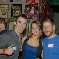 8 Paul Gallant, from left, Hannah Weir and Mitchell Cash at the Bear Bryant Awards young professionals party October 2014