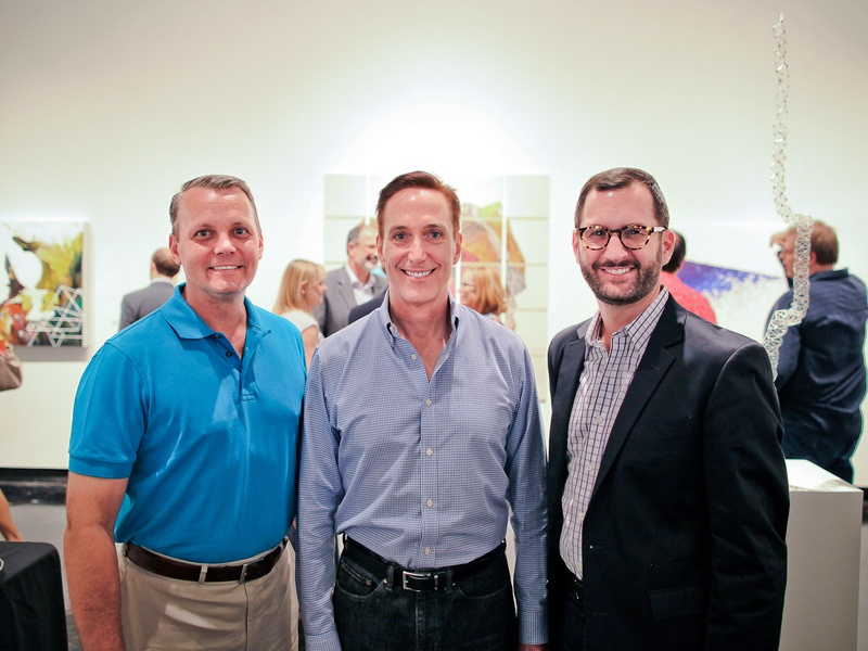 Lawndale Art Center The Big Show VIP reception July 2013 Tim Kollatschny, Rod Frazier and Aaron Laine