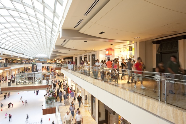 The Galleria with shoppers and a view of the ice rink
