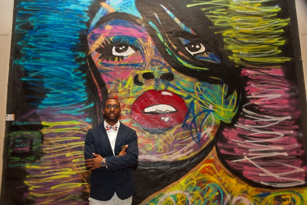 News, Shelby, Muir Gallery mural  party, July 2015, John Whaley Jr.  3rd place