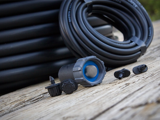 Photo of drip emitter system components