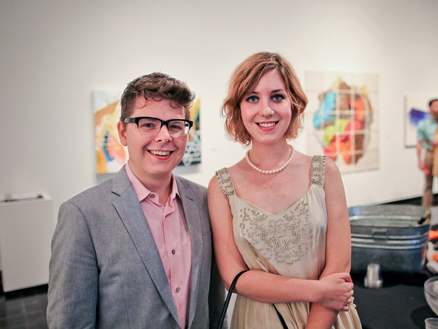 Lawndale Art Center The Big Show VIP reception July 2013 Logan Boughal and Caitlin Fredette