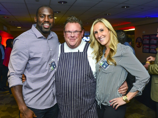 12 Whitney Mercilus, from left, Chris Shepherd and Channing Grigsby at Taste of the Texans November 2013
