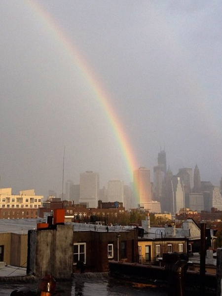Hurricane Sandy, rainbow, lower Manhattan, October 2012