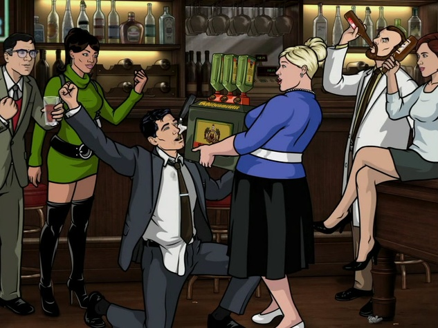 FX Archer with Sterling Archer chugging Green Russians