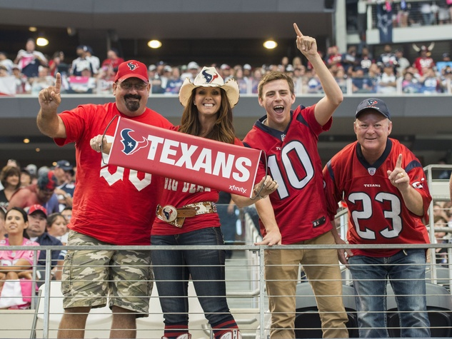 Texans vs. Cowboys Oct. 5, 2014 Texans fans with Texans sign in stands