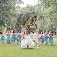 Wedding party runs from a dinosaur