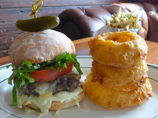 BRC American Gastropub new menu September 2013 Fat Boy Burger with onion rings