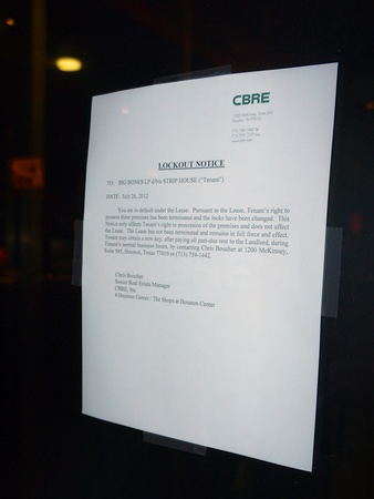 Strip House, lockout notice, July 26, 2012