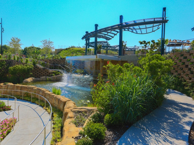 Cascade waterfall at Rory Meyers Children's Adventure Garden