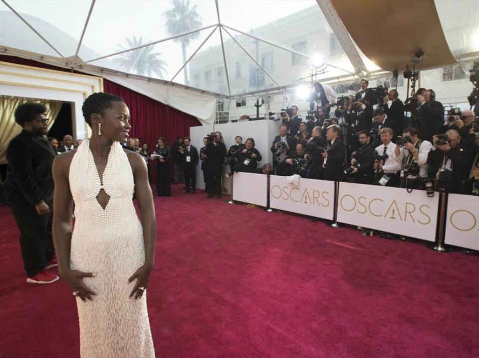 Lupita Nyong'o on red carpet at the Oscars