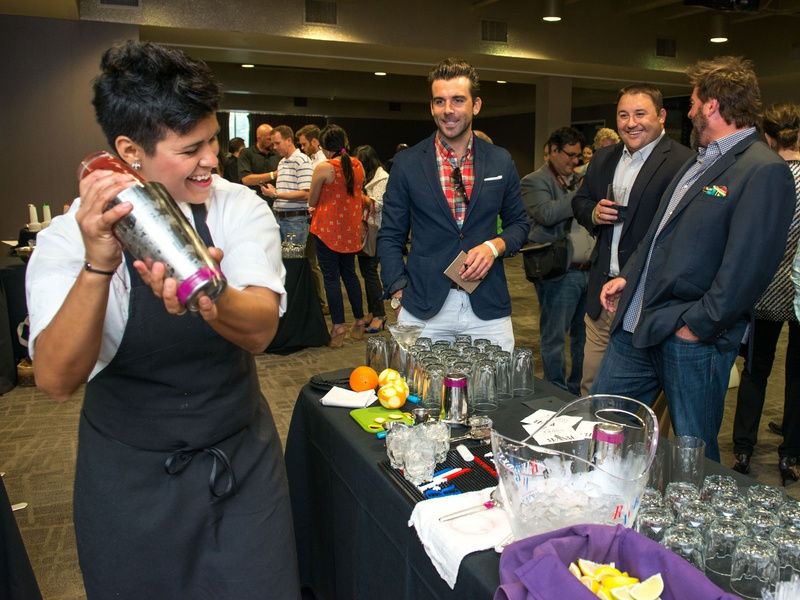 1 JoJo Martinez, from left, Mike Chabala, NAME and Tod Eason at the Crafted mixology contest at Mr. Peeples July 2014