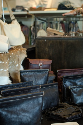 Cambria leather goods on display at By George