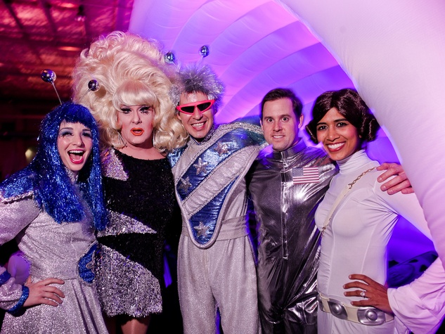 091 Sally Kolenda, from left, Luis Elizondo-Thomson D.J. Lady Bunny and Chris and Divya Brown at the Fresh Arts Space Ball March 2014