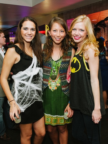 12 Mayra Adriazola, from left, Cori Taffel and Autumn Goodin at the CultureMap Halloween party at Mr. Peeples October 2013