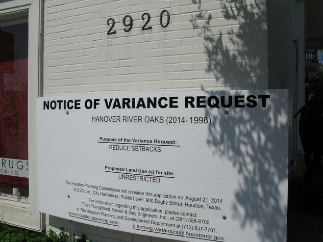 Variance sign for Hanover River Oaks August 2014