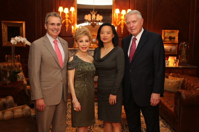 2 Dr. Ron DePinho, from left, Margaret Alkek Williams, Dr. Lynda Whin and Jim Daniel HGO Opera ball kick-off party January 2014