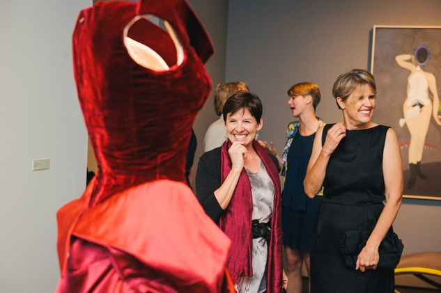 Sheryl Kolasinski, left, and Dorothee Helfenstein at the Charles James exhibit preview party at the Menil June 2014
