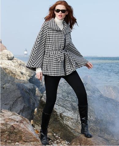 Calvin Klein Coat, Houndstooth-Check Cape