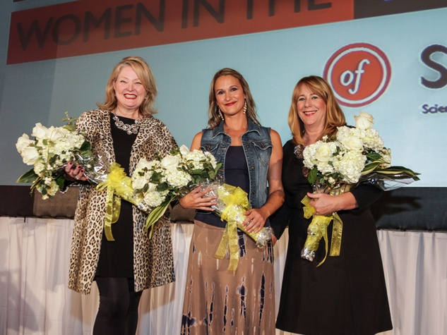 2444 Kelly Flores, from left, Cherin Cox and Stacey Swift at the Women in the Fast Lane of STEAM Luncheon September 2014