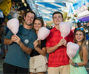 People with cotton candy