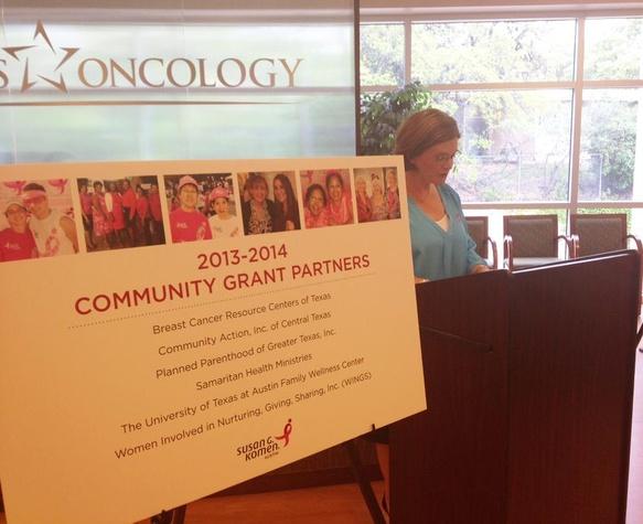 Komen Austin poster announcing its 2013 community partners