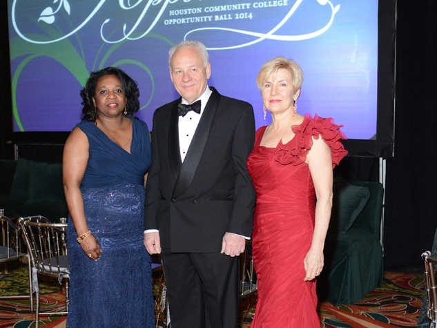 Carme Williams, from left, with Bob and Betty Bellomy at the Houston Community College Gala February 2014