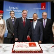 From left to right, Emirates VP of Sales USA, Matthias Schmid, Emirates Regional Sales Director Central USA, Alexander Houston, Director of Aviation, Houston Airport System, Mario Diaz, and Emirates VP USA, Jim Baxter, are flanked by Emirates' Cabin Crew a