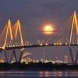 Super moon over the Fred Hartman Bridge...from KPRC, Houston.