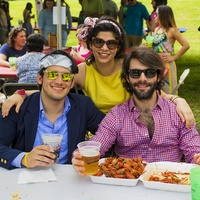 56 Nicolas Martinez, from left, Elena Giralt and Juan Garcia at the Buffalo Bayou Bash April 2014