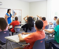 Teacher and students in a classroom