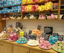 Lush Fresh Handmade Cosmetics soaps on counter