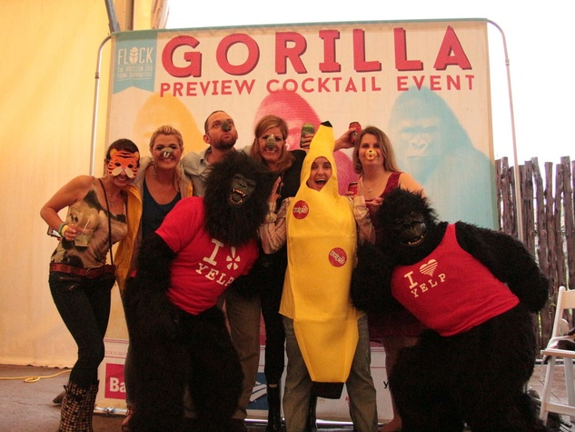 Houston Zoo gorillas YP Alicia Zaccagni, Brooke Story, Drew Sabetti, Elizabeth Weiss, Sarah Pepper, Lelia Vacek, with YELP gorillas