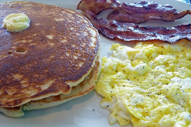 Sylvia's Enchilada Kitchen pancakes with eggs and bacon August 2013