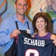 Owen Daniels, celebrity dinner, Houston Texas, September 2012, Matt Schaub auctioning off jersey