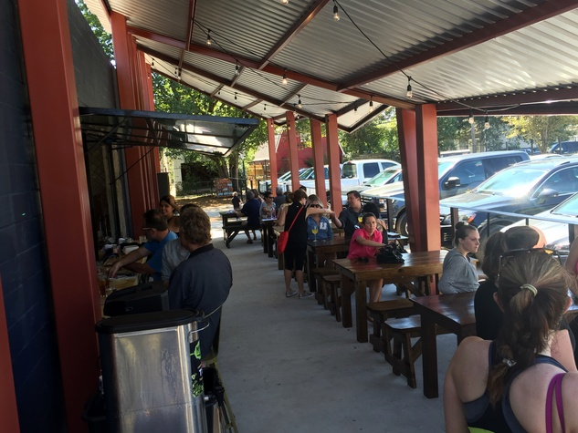 Houston, Southern Goods restaurant. October 2015, patio