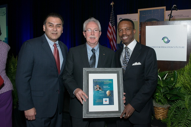 Rick Jaramillo, from left, John Huff and AstleyBlair at the Center for Houston's Future luncheon March 2015