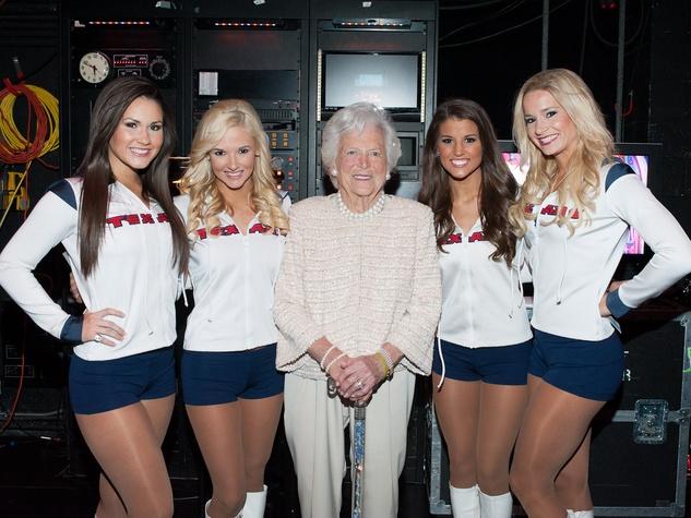 Celebration of Reading April 2013 Texans cheerleaders, Barbara Bush