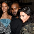 Rihanna, Kanye West and Kim Kardashian at the adidas Originals x Kanye West YEEZY SEASON 1 fashion show
