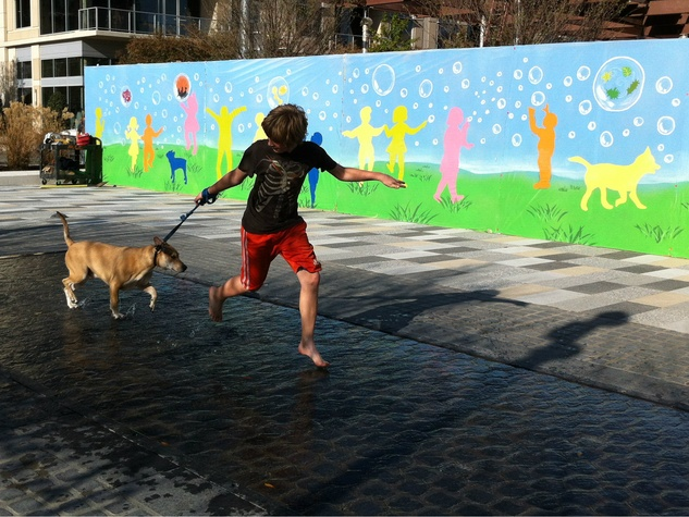 Kid and his dog playing at Klyde Warren Park
