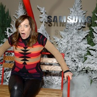 Allison Janney at Sundance Samsung ski-lift photo booth
