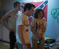 Callum Turner, Anton Yelchin, and Alia Shawkat in Green Room