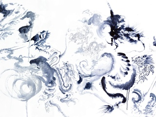 Don Ed Hardy, 2000 Dragons, black-and-white, Dragon Detail
