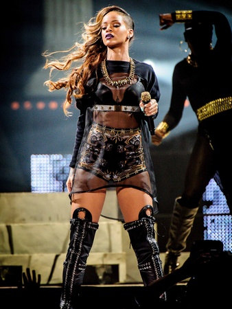 1, Rihanna, Givenchy haute couture, by Riccardo Tisci, Diamonds World Tour, March 2013, three-piece printed and embroidered costume