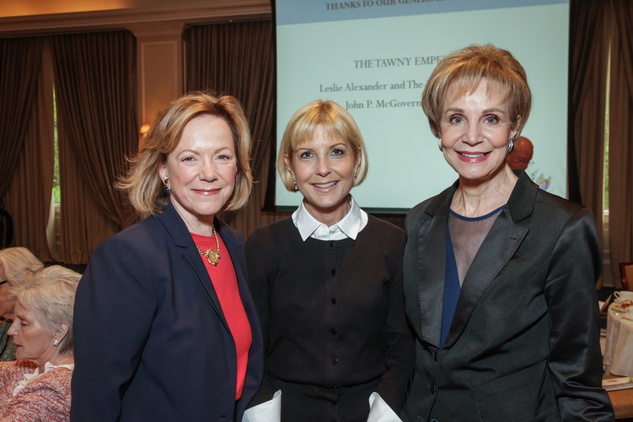 Sarita Hixon, from left, Laura Easton and Leisa Holland Nelson at the Houston Hospice butterfly luncheon April 2015
