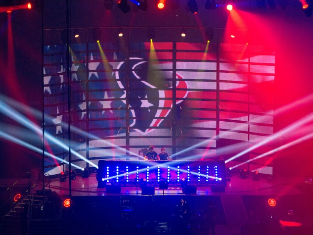 The Chainsmokers with Texans flag at Houston Rodeo 2017