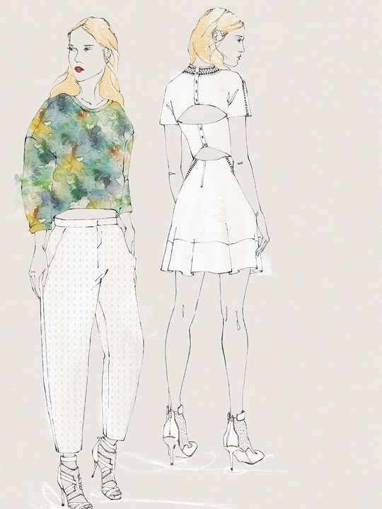 Fashion Week spring summer 2014 Rebecca Taylor sketch